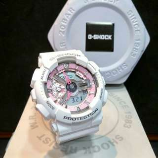Casio G-Shock Mini Gloss White & Pink Trims G-Shock S Series for ladies