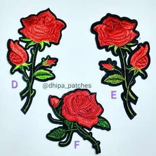 Iron patch bunga rose, emblem bordir, tempelan baju