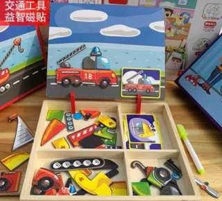 (全新未拆)交通工具益智兒童磁貼拼圖