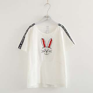 2018 summer new rabbit patch embroidered round neck sleeve short-sleeved loose white T-shirt