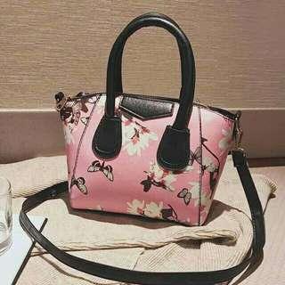 Korean floral pink bag