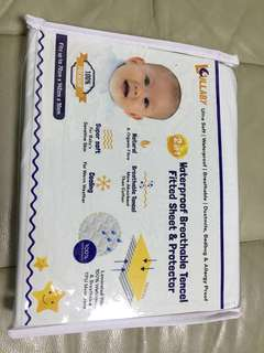 Lullaby 2in 1 baby waterproof breathable fitted sheet & protector