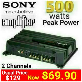 SONY Car Amplifier - 500watts Peak Power - class AB with 2 channels . (Model: XM-N502)  Usual price: $129.90.Special Offer:$ 69.90 ( Brand New In Box & Sealed) whatsapp  85992490 to Pickup Today
