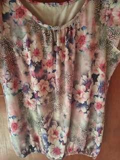 Large floral blouse