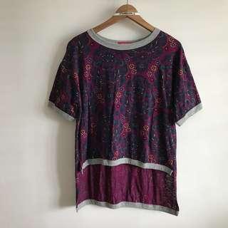 (Fits L~XL) Nicole Size M Deep Purple Floral Long Short T Shirt Top@sunwalker