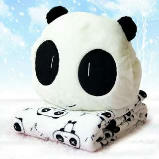 Pre Order Cute Panda Doll Plush Doll Three-in-one Coral fleece blanket Cushion Warm Hand pillow