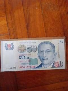 Portrait 9H9T, $50 LHL (MAS) note, 1pcs.