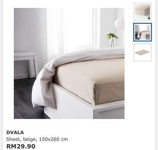 Ikea Dvala (Single) Sheet, Beige (150x260cm)