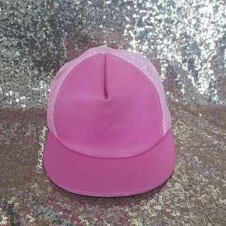 Leather like Pink Girls Cap Truckers Cap Net Cap Kids Cap Girls OOTD Korean Style