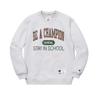 Supreme x Champion Stay In School Crewneck Ash Grey