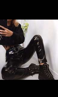 Leather high waisted pants
