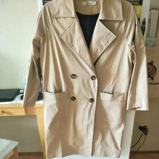 韓版駝色風衣外套