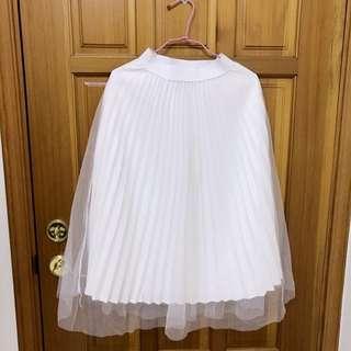 日系lolita蘿莉塔軟妹甜美森林系 白色百摺長裙紗裙