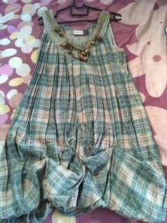 Checkered green cute dress