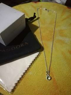 Pandora August droplet pendant and silver necklace