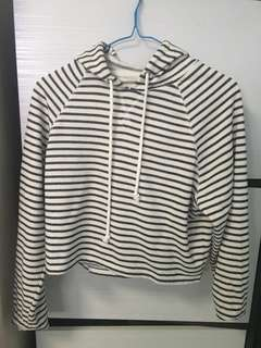 H&M knitted cropped striped hoodie