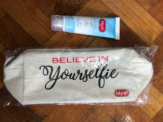 Brand New Auth Myra Vitawhite Whitening Facial Wash and Pouch