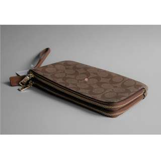 Coach Signature Double Zip Wallet Brown / Khaki