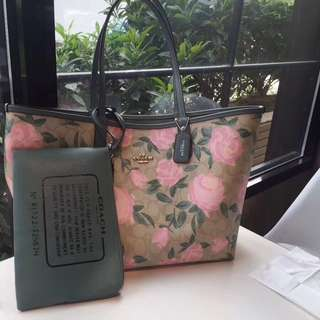 Coach Reversible City Tote with Camo Floral Print