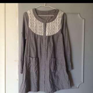日本牛仔棉長版上衣,蕾絲洋裝,M,肩寬36公分,胸寬44長81公分