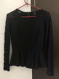 Forever 21 F21 Peplum Top in Black