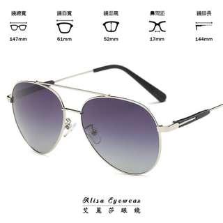 【艾麗莎】男女士偏光太陽眼鏡 抗UV400日本進口合金框墨鏡2018新款復古經典雷朋飛行員外型 明星時尚潮流風格P202