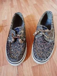 Women's SPERRY Top Sider Bahama 2 Eye Gold Brown Leopard Boat Shoes