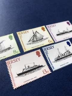 英屬澤西島1978早期渡輪 ⛴️ 郵輪 船郵票5全