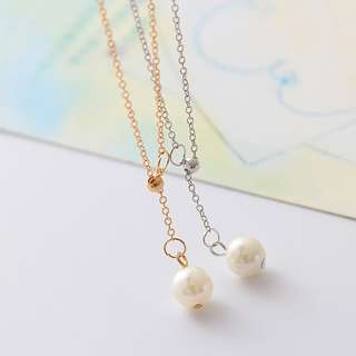 Korean Style Pearl Pendant Tassel Necklace Gold Colour