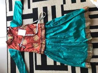 Dress kain sari budak preloved 6-8yrs