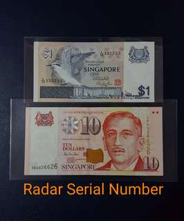 🇸🇬 *UNC* Singapore Bird Series $1 And Portrait Series $10 Paper Banknote~Radar Serial Number