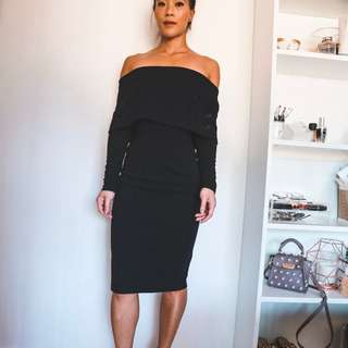 Delphine the Label Off the Shoulder Long Sleeve Midi Dress Size XS