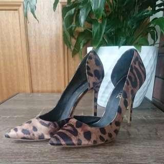 Satin Leopard Print Pumps/ Heels