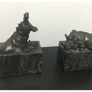 Bronze Rhinos Statuette