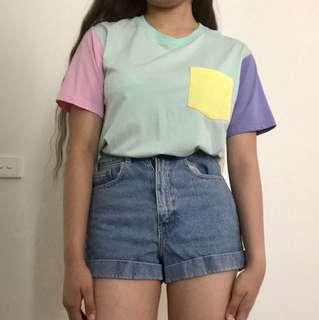 Cute Colour Block Pastel Top