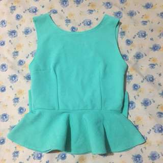 Teal Peplum Ribbon back detail