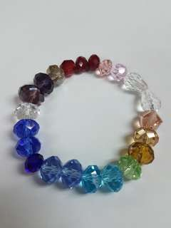 Handmade Bracelet Rainbow glass crystal beads