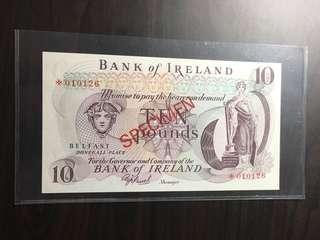 🌟specimen note of Ireland 10 pound
