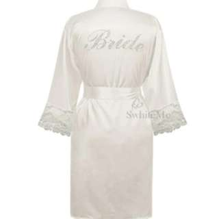 "WEDDING ROBE / BRIDAL ROBE - STOCK ON HAND!!! ""Bride"" wording made of Rhinestone"