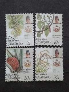 Malaysia 1986 Kelantan Agro-Based Products Loose Set - 4v Used Stamps