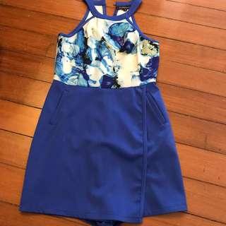 Fleurettos cobalt blue abstract romper