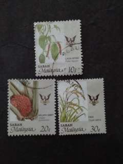 Malaysia 1986 Sabah Agro-Based Products Loose Set - 3v Mix MH & Used Stamps