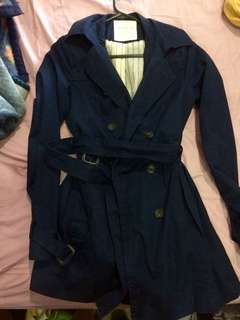 Authentic Pull&Bear dark blue trench coat almost new