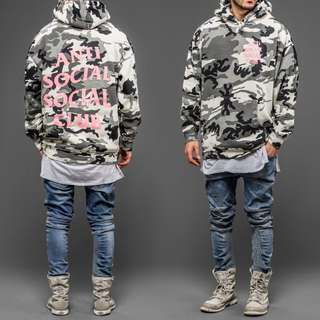 ASSC Anti Social Social Club Camo Hoodie With Pink Lettering
