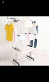 Free Delivery! Brand New 3 Layers of Clothes Hanger Rack Laundry Drying Rack/ Clothes Rack/ Hanger/ Rack/ Wheels/ Steel/ Foldable rack