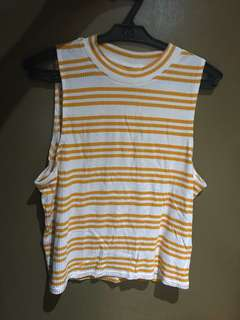 H&M Halter top (mustard & white stripes)