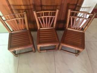Bamboo small chairs x 3