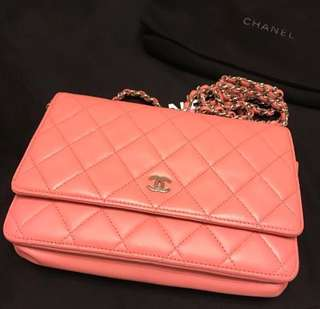 100%real Chanel wallet on chain WOC baby pink 90%new