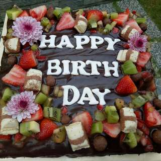 Brownie Cake with Fresh Fruit topping
