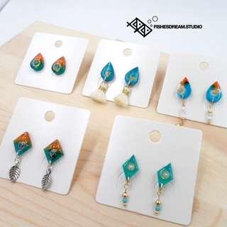 [Fishes' Dream] 手作耳環 流蘇 水滴/階磚 Handmade Earrings 925 Sliver